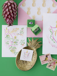 Modern pineapple tropical wedding stationery
