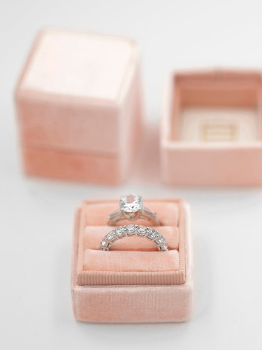 pink blush double ring box engagement ring and wedding ring