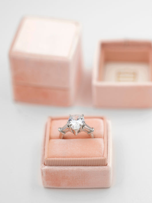 perfect engagement gift blush pink ring box for the bride