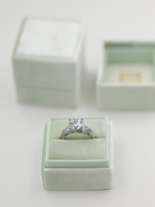 mint light sage green velvet wedding ring box
