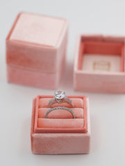 peachy orange velvet wedding ring box
