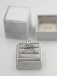 silver velvet wedding ring box