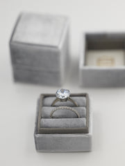 gray velvet wedding ring box