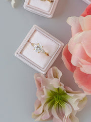 pale neutral pink velvet engagement ring box