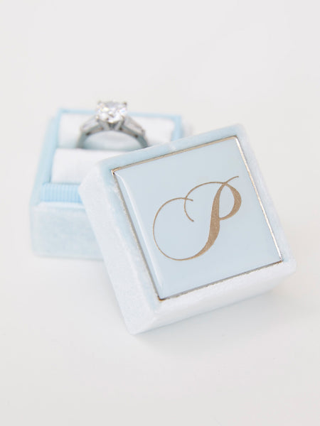 pale blue velvet ring box