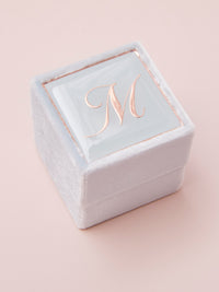 pale blue velvet engagement ring box
