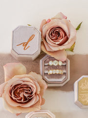 dark sepia and rose gold bevel velvet ring box