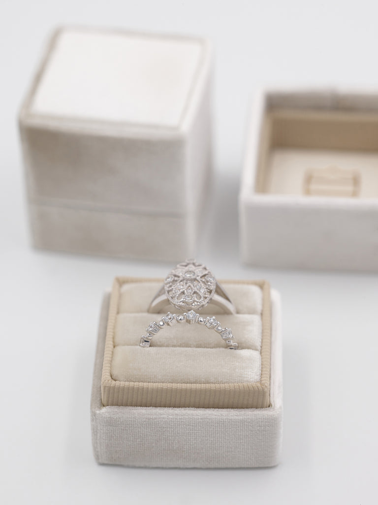 muted cream velvet wedding ring box