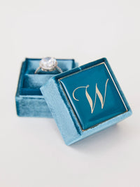 jade blue velvet engagement monogram ring box