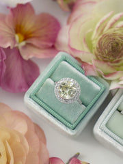 round halo cut traditional green velvet wedding ring box