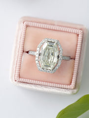 Fancy cut halo engagement ring