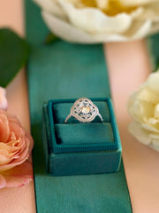 halo wedding ring emerald green vintage ring box
