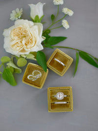 gold dark mustard ring box monogram silver letter