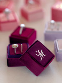 monogram velvet ring box engagement gift
