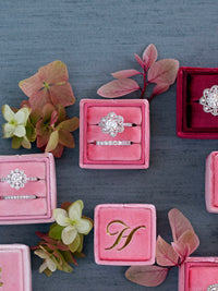 monogram dark pink velvet wedding ring box  gift idea