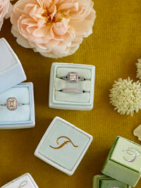 monogram light sage green velvet wedding ring box