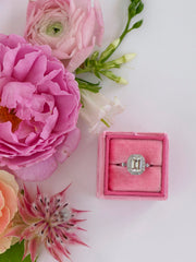 dark pink velvet wedding ring box engagement gift