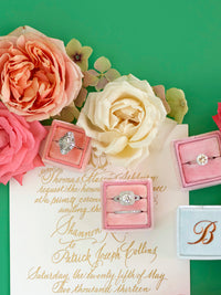 pink velvet monogram ring box