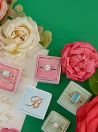 monogram rose gold baby pink velvet wedding ring box custom