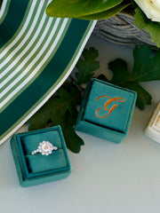monogram velvet ring box custom handmade vintage inspired box