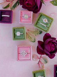 colorful baby pink velvet wedding ring box
