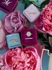 blues and purples velvet ring boxes for weddings