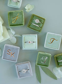 monogram custom light sage green velvet wedding ring box