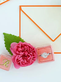 peachy orange velvet wedding ring box gift idea