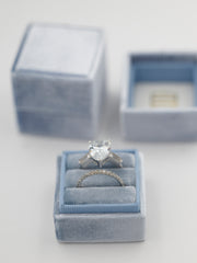 true blue velvet wedding ring box