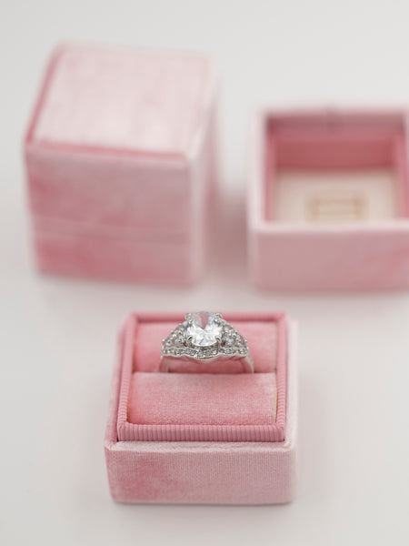 baby pink velvet wedding ring box