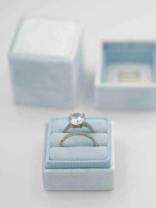 dusty blue velvet wedding ring box