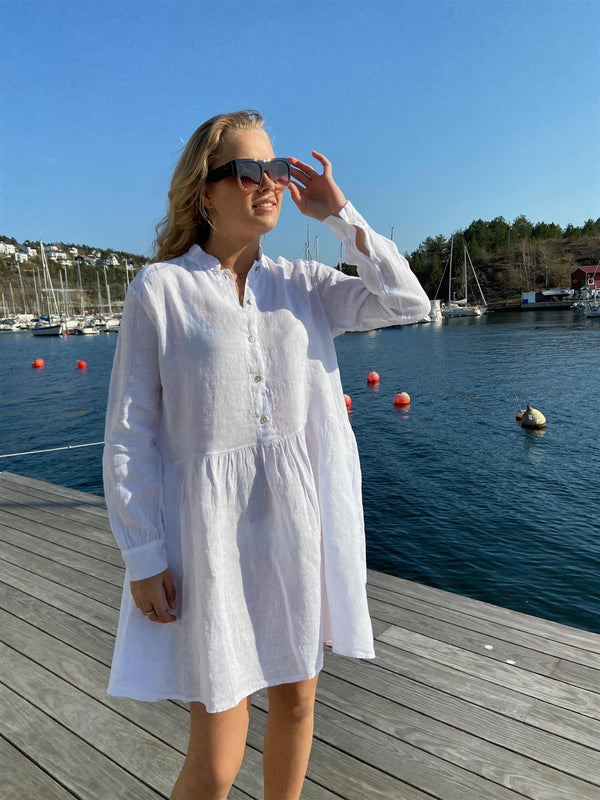 Tiffany Dress, short linen Hvit KLÆR Tiffany