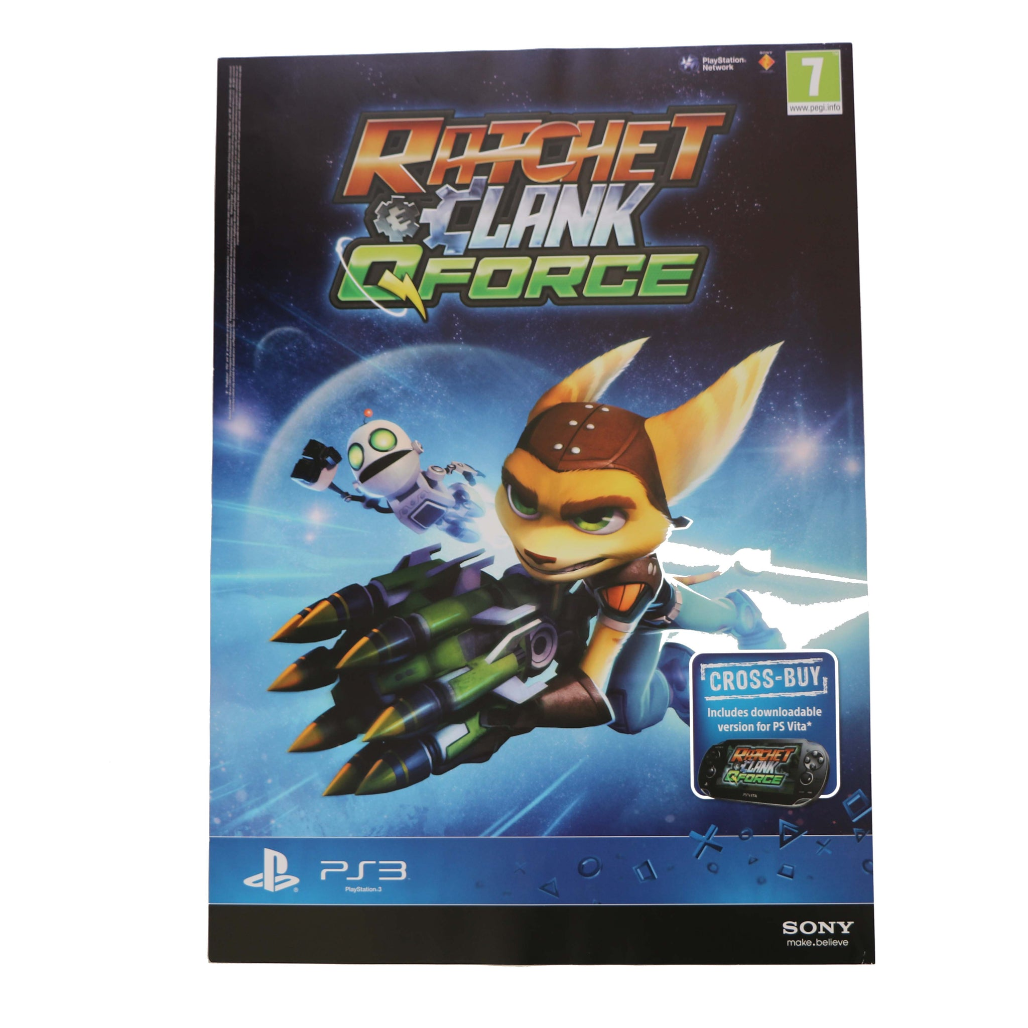 Ratchet & Clank - QFORCE - Sony PS3 Game Promo - Double Sided - A2 Poster