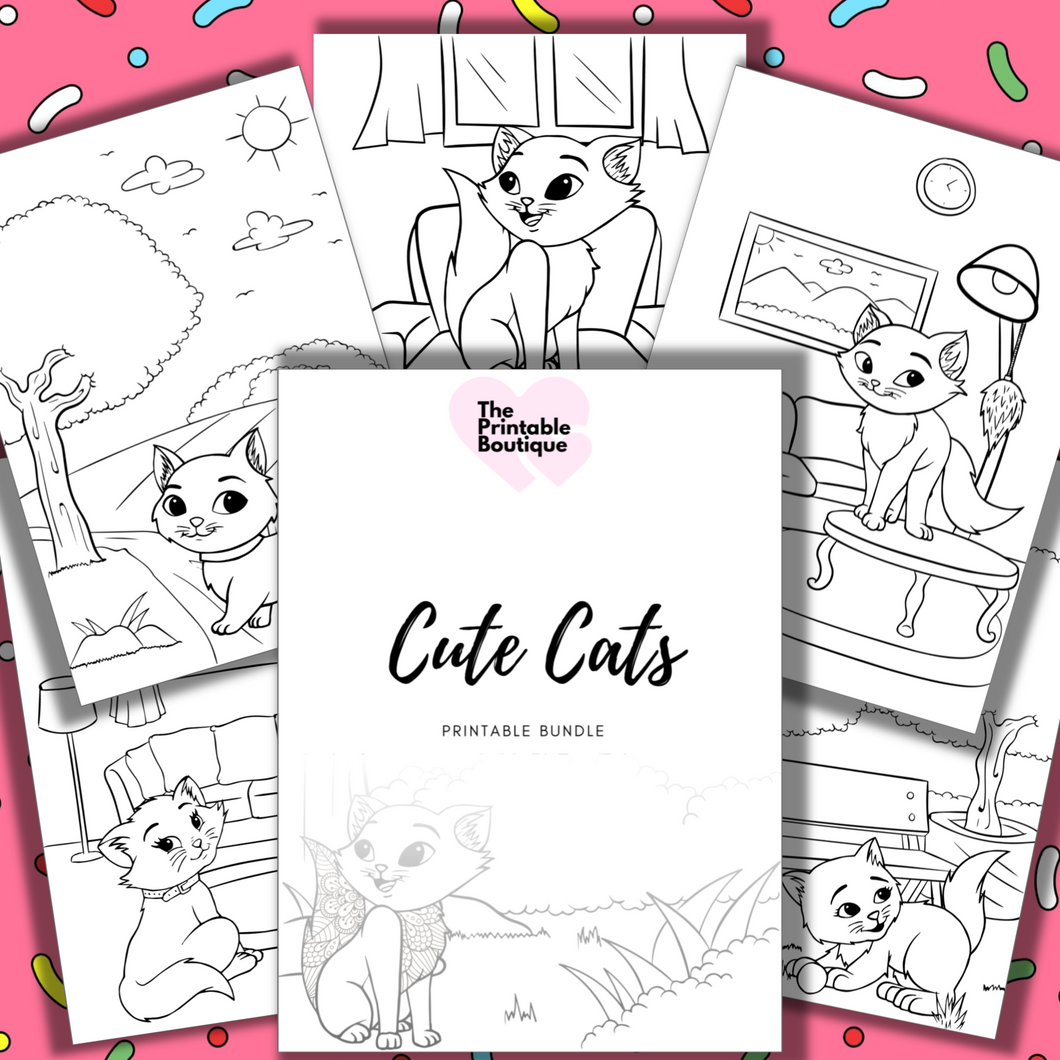 Cute Cats Children's Colouring Collection - 20 printables