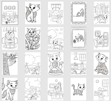 Load image into Gallery viewer, Cute Cats Children's Colouring Collection - 20 printables