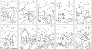 Easter Bunny and Friends Children Colouring Collection - 10 Printables
