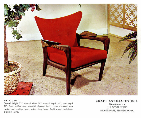 Adrian Pearsall 2291-C Craft Associates Wing Back Lounge Chair 14