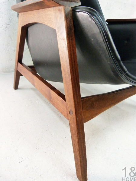 Sculptural Mid-Century Modern Lounge Chair & Ottoman