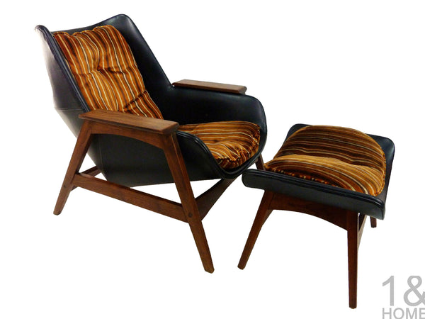 Sculptural Mid-Century Modern Lounge Chair & Ottoman img 1