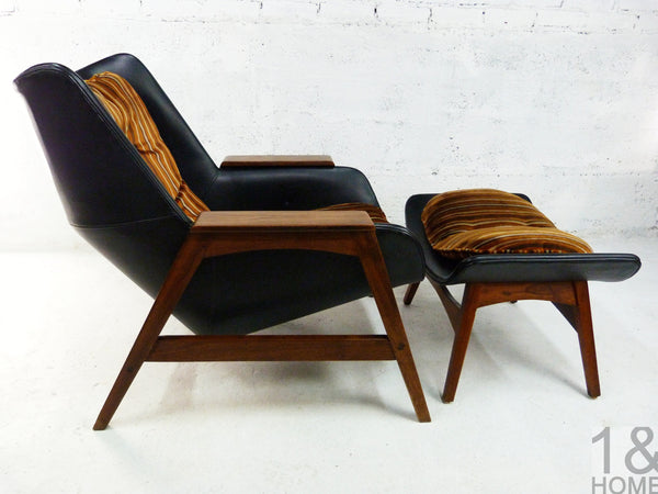 Sculptural Mid-Century Modern Lounge Chair & Ottoman img 2