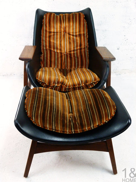 Sculptural Mid-Century Modern Lounge Chair & Ottoman img 3