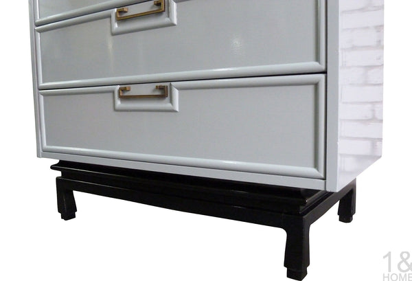 Gray Enameled Asian-Inspired Chest