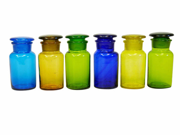 Handmade Vintage Spice Apothecary Multicolored Glass Jars 1