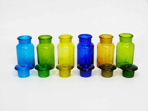 Handmade Vintage Spice Apothecary Multicolored Glass Jars 2