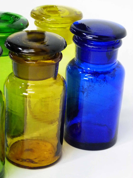 Handmade Vintage Spice Apothecary Multicolored Glass Jars 6