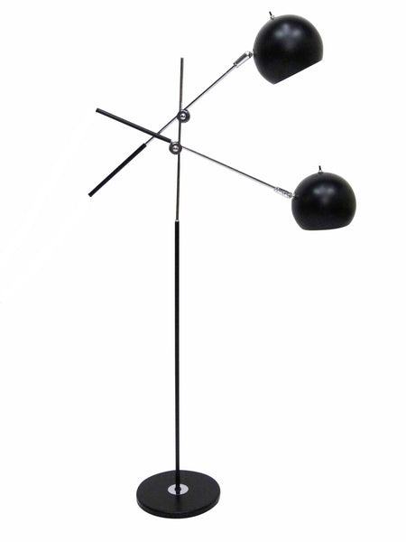 Articulating Two Light Chrome & Black Ball Mid Century  Floor Lamp 1