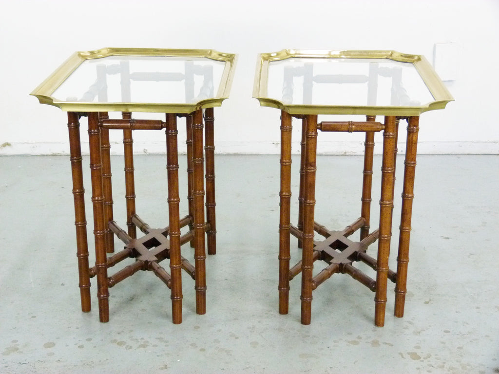 Vintage Brass Glass Tray Top Tables Faux Bamboo Img 4
