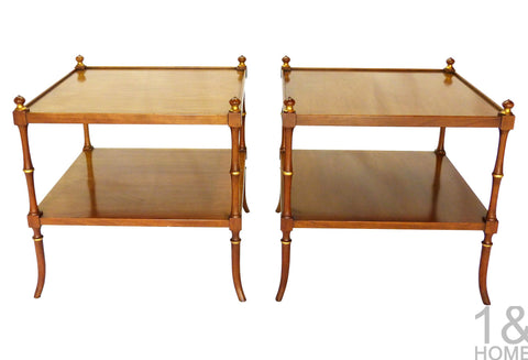 Baker Faux-Bamboo Chinoiserie Side Tables Img 1