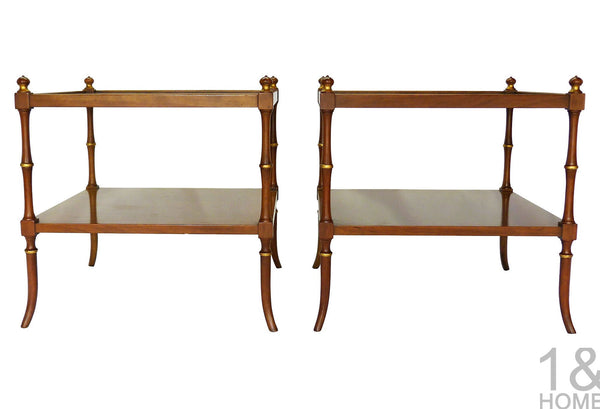 Baker Faux-Bamboo Chinoiserie Side Tables Img 2