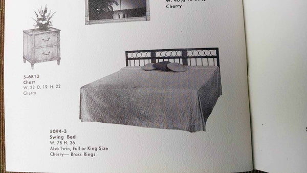 Cherry Headboard w/ Brass Rings by Baker Furniture, King